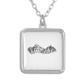 Ink Mountain Drawing Square Pendant Necklace