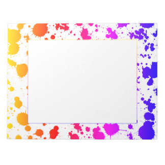Ink Paint Splash Splatter Colorful Bright Rainbow Notepad