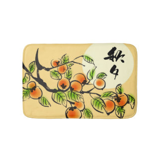 Ink Painting Of Persimmons Bath Mats