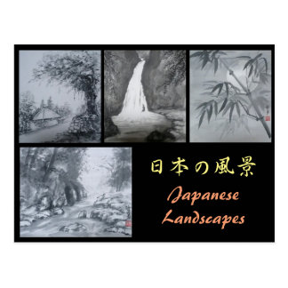 Ink Painting Postcard Japanese Landscapes