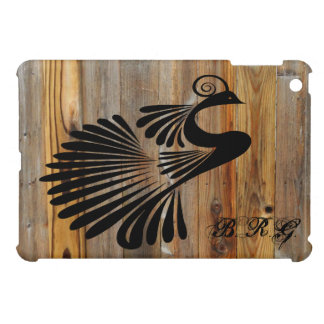 Ink Peacock Wood Plank Personalized iPad Mini Covers