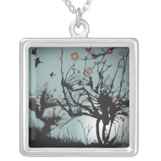 Ink Splattered Trees Square Pendant Necklace