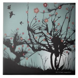 Ink Splattered Trees Tile