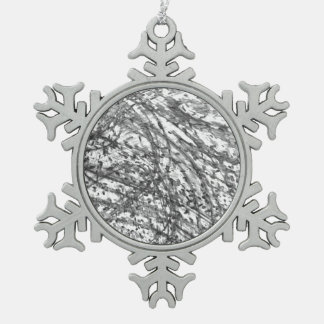 Ink Wash Pewter Snowflake Ornament