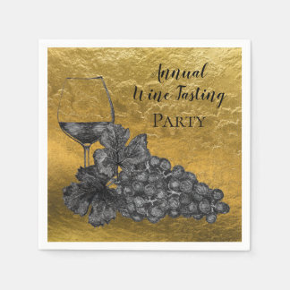 Ink Wine Glass Grapes Gold Background Paper Napkin