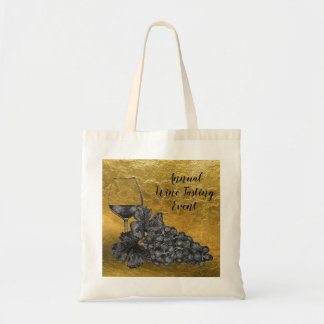 Ink Wine Glass Grapes Gold Background Tote Bag