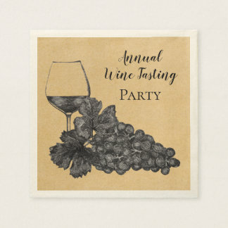 Ink Wine Glass Grapes Old Paper Background Paper Napkin