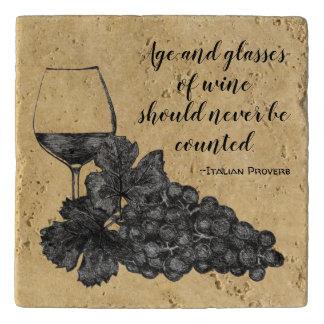 Ink Wine Glass Grapes Old Paper Background Trivet