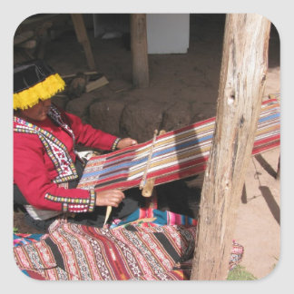 Ïnka Woman at Backstrap Loom Stickers