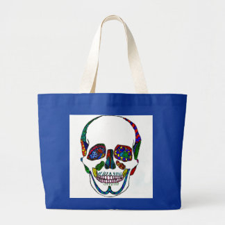 Inked Tattoo Style Colorful Mosaic Skull Tote Bag