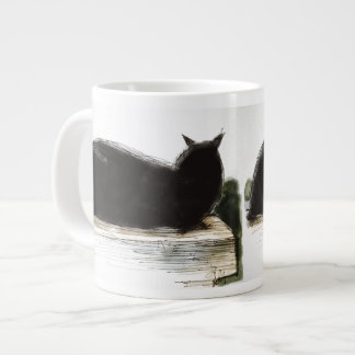 Inky black cat rests on ledge jumbo mug