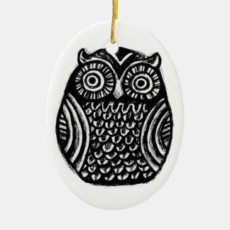 inky owl ornament.. halloween christmas custom christmas ornament