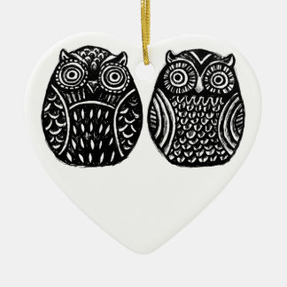 inky owls heart ornament