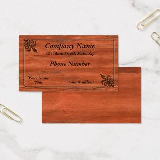 Inlaid Wood Fleur de lis Business Card