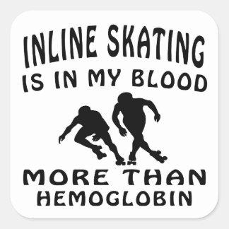 Inline Skating Design Square Sticker
