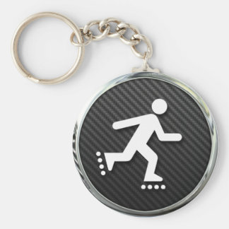 Inline Skating Icon Basic Round Button Key Ring