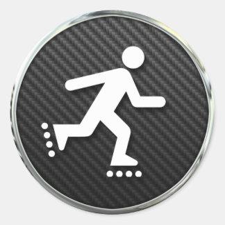 Inline Skating Icon Round Sticker