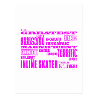 Inline Skating : Pink Greatest Inline Skaters Postcard