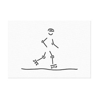 inline skating scooter roller skate stretched canvas print