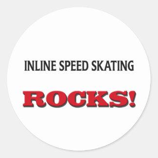 Inline Speed Skating Rocks Round Stickers