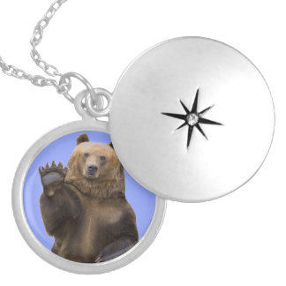 Inner Bear Round Locket Necklace