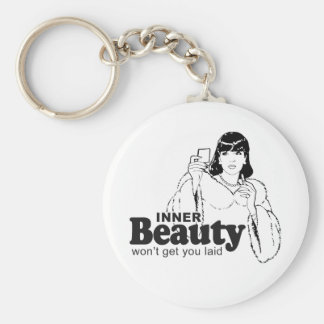 INNER BEAUTY WON'T GET YOU LAID BASIC ROUND BUTTON KEY RING