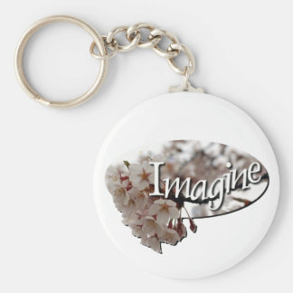 Inner Child Crochet cherry blossom logo Basic Round Button Key Ring