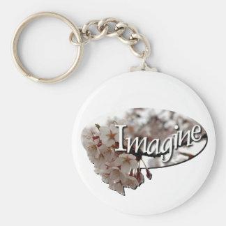 Inner Child Crochet cherry blossom logo Basic Round Button Key Ring