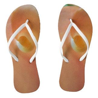 Inner Peach Flower Flip Flops