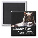 Inner Tiger Kitty Square Magnet