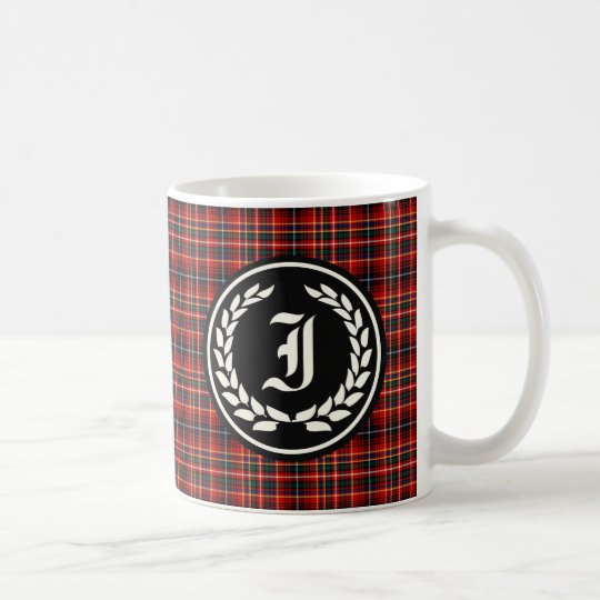 Innes Clan Red Tartan Monogram Coffee Mug