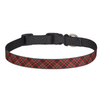 Innes Clan Tartan Colorful Bright Red Plaid Pet Collar