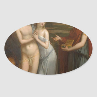 Innocence Preferring Love to Wealth by Pierre-Paul Oval Sticker