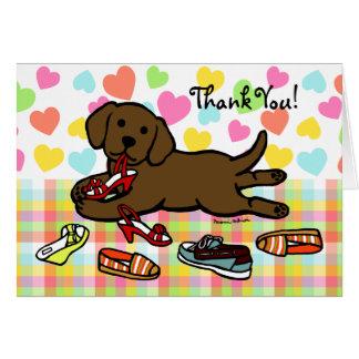 Innocent Chocolate Labrador Puppy Cartoon Greeting Card