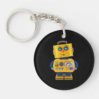Innocent looking toy robot Double-Sided round acrylic key ring