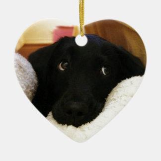 Innocent puppy.JPG Ceramic Heart Decoration