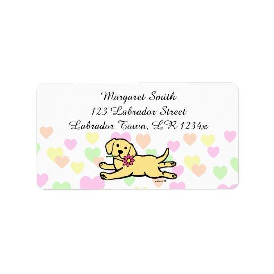 Innocent Yellow Labrador Puppy Cartoon Label
