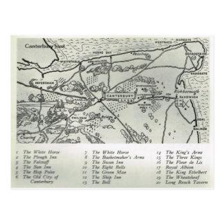 Inns of Kent, Inns near Canterbury Map Postcard