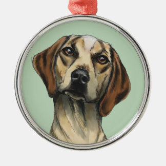 Inquisitive Hound Rendering Silver-Colored Round Decoration