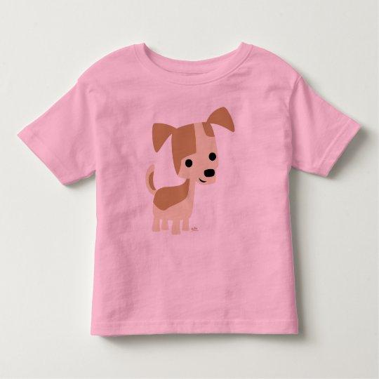 Inquisitive little dog cartoon toddler T-shirt