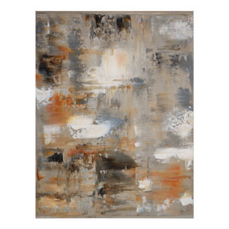 'Inquisitive' Neutral Abstract Art Poster Print