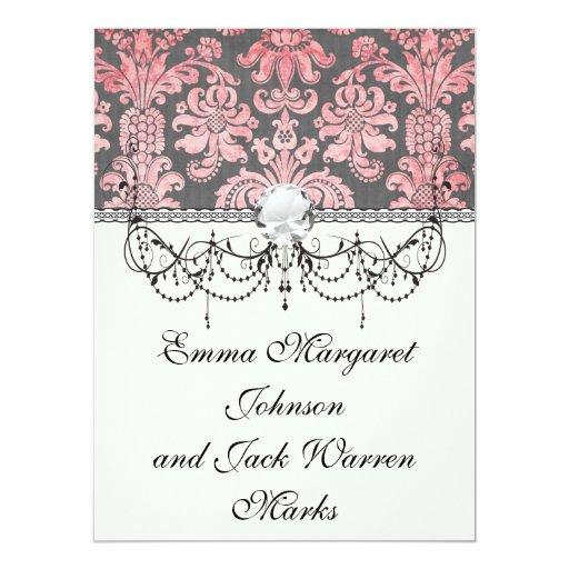 inricate vintage pink damask on deep grey 17 cm x 22 cm invitation card