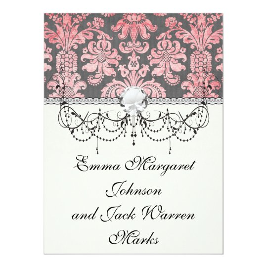 inricate vintage pink damask on deep grey card