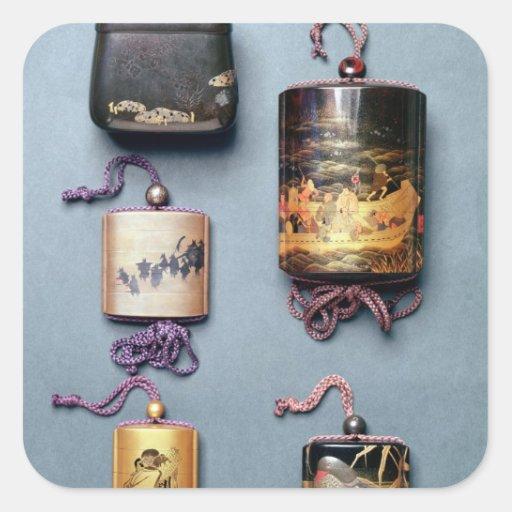 Inro and tobacco pouch square sticker