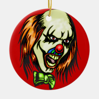 Insane Evil Clown Double-Sided Ceramic Round Christmas Ornament