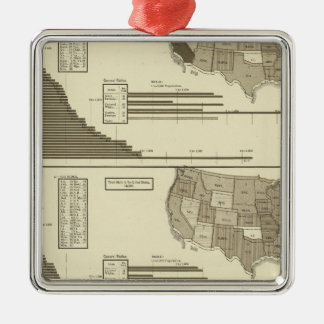Insane, Idiotic, Blind statistical map Silver-Colored Square Decoration