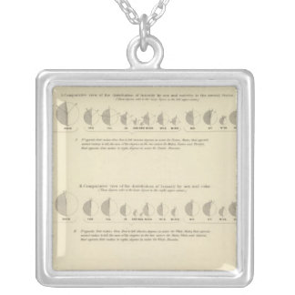 Insane, Statistical US Lithograph 1870 Silver Plated Necklace