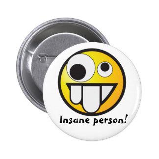 Insane yellow smiley 6 cm round badge