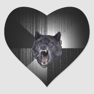 Insanity Wolf Meme Funny Memes Black Wolf Heart Sticker