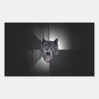 Insanity Wolf Meme Funny Memes Black Wolf Rectangular Sticker